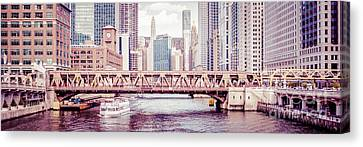 Chicago River Skyline Vintage Panorama Picture Canvas Print by Paul Velgos