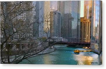 Chicago River Sunset Canvas Print by Jeff Kolker