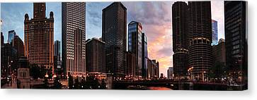 Chicago River Sunset Pano 001 Canvas Print by Lance Vaughn