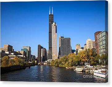 Chicago River Canvas Print - Chicago River With Willis-sears Tower by Paul Velgos