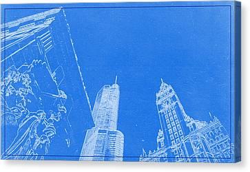 Lincoln Park Lagoon Canvas Print - Chicago Riverfront Blueprint by Celestial Images