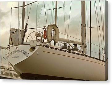 Chicago Sailboat In Muskegon Drydock Storage Canvas Print by Rosemarie E Seppala