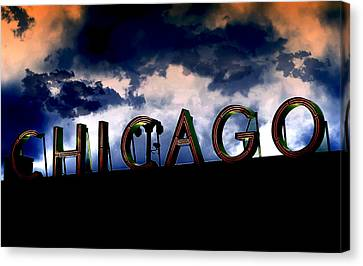 Chicago Sign Sunset Canvas Print by Kristie  Bonnewell