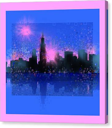 Chicago Skyline Abstract 5 Canvas Print by Bekim Art