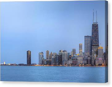 Canvas Print featuring the photograph Chicago Skyline And Navy Pier by Shawn Everhart