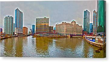 Canvas Print featuring the photograph Chicago Skyline And Streets by Alex Grichenko