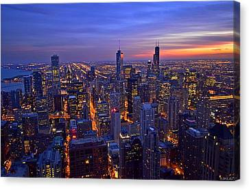 Canvas Print featuring the photograph Chicago Skyline At Dusk From John Hancock Signature Lounge by Jeff at JSJ Photography