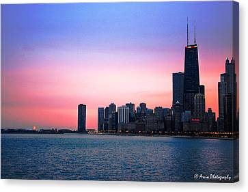 Chicago Skyline At Lake Michigan Canvas Print