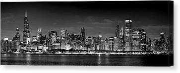 Chicago Skyline At Night Black And White Canvas Print