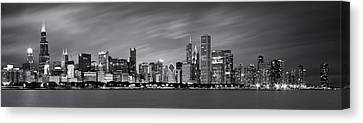Late Canvas Print - Chicago Skyline At Night Black And White Panoramic by Adam Romanowicz
