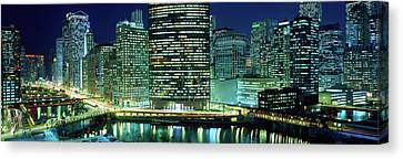 Train Tracks Canvas Print - Chicago Skyline At Night, Chicago, Cook by Panoramic Images
