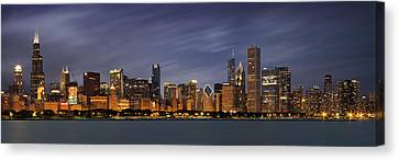 Metropolitan Canvas Print - Chicago Skyline At Night Color Panoramic by Adam Romanowicz