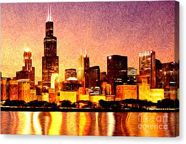 Chicago Skyline At Night Digital Painting Canvas Print by Paul Velgos