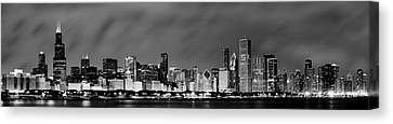 Chicago Skyline At Night In Black And White Canvas Print by Sebastian Musial