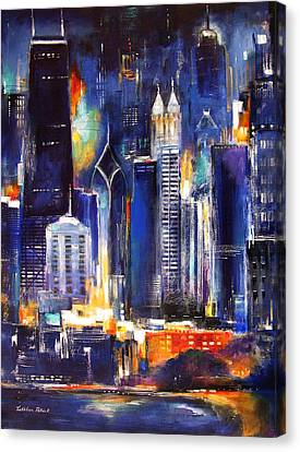 Chicago Skyline At Night Canvas Print by Kathleen Patrick