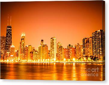 Chicago Skyline At Night With Orange Sky Canvas Print by Paul Velgos