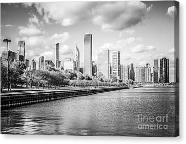 Chicago Skyline Black And White Photo Canvas Print by Paul Velgos