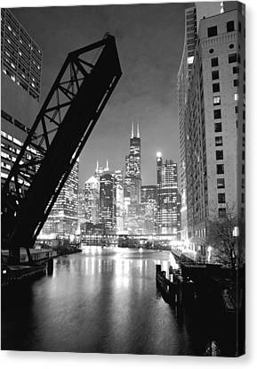 Chicago Skyline Canvas Print - Chicago Skyline - Black And White Sears Tower by Horsch Gallery