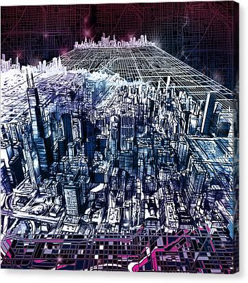 Abstract Digital Canvas Print - Chicago Skyline Black Verson by Bekim Art