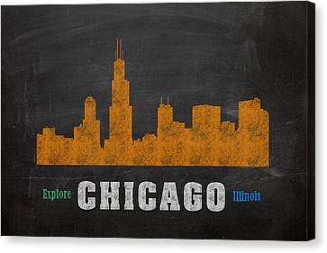 Chicago Skyline Chalkboard Chalk Art Canvas Print