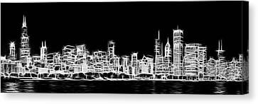 Chicago Skyline Fractal Black And White Canvas Print by Adam Romanowicz
