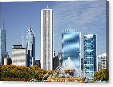 Chicago Skyline From Millenium Park Iv Canvas Print by Christine Till