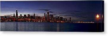 Chicago Skyline From The Lake Canvas Print by Andrew Soundarajan