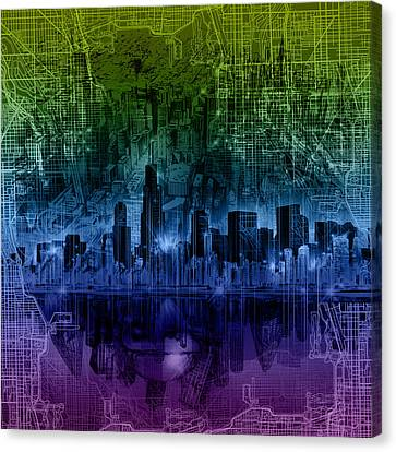 Abstract Digital Canvas Print - Chicago Skyline Gradient Version by Bekim Art