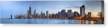 Canvas Print featuring the photograph Chicago Skyline Night Panorama by Shawn Everhart