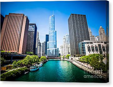 Chicago River Canvas Print - Chicago Skyline Photo With Trump Tower by Paul Velgos