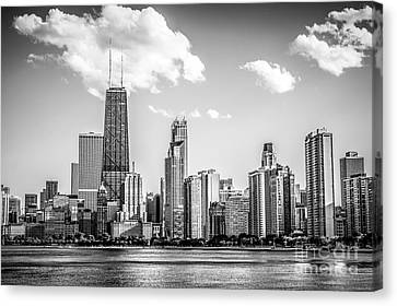 Chicago Skyline Picture In Black And White Canvas Print