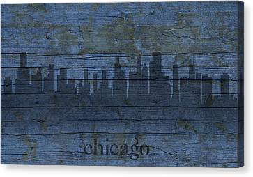 Chicago Skyline Silhouette Distressed On Worn Peeling Wood Canvas Print