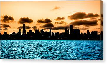 Chicago Skyline Silhouette Canvas Print by Semmick Photo