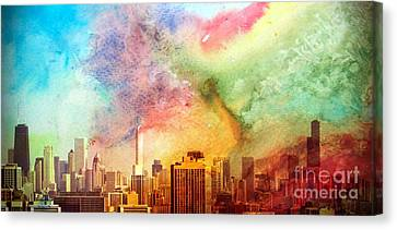 Chicago Skyline Watercolor Sky Canvas Print by Linda Matlow
