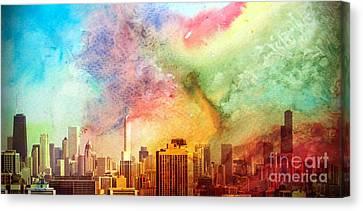 Chicago Skyline Watercolor Sky Canvas Print