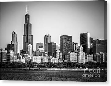 Chicago Skyline With Sears Tower In Black And White Canvas Print