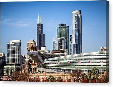 Chicago Skyline With Soldier Field And Sears Tower  Canvas Print by Paul Velgos
