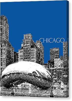 Chicago Skyline Canvas Print - Chicago The Bean - Royal Blue by DB Artist