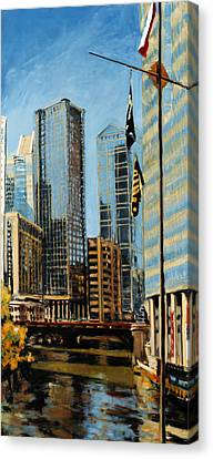 Chicago - The River From The East Canvas Print by Robert Reeves