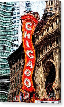 Chicago Theater Sign Digital Painting Canvas Print by Paul Velgos