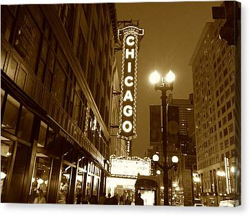 Canvas Print featuring the photograph Chicago Theatre by Alan Lakin