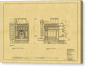 Chicago Theatre Blueprint 2 Canvas Print