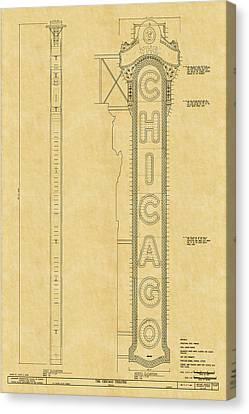 Chicago Theatre Blueprint Canvas Print