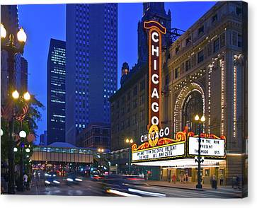 Long Street Canvas Print - Chicago Theatre Marquee At Night by Panoramic Images