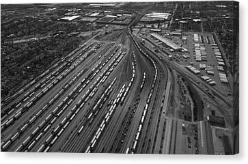 Chicago Transportation 02 Black And White Canvas Print by Thomas Woolworth