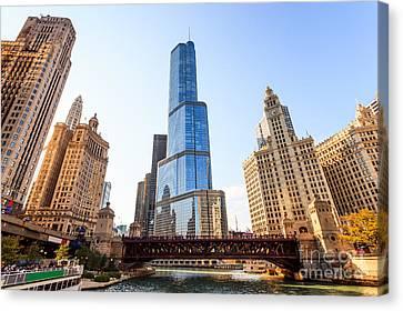 Chicago River Canvas Print - Chicago Trump Tower At Michigan Avenue Bridge by Paul Velgos