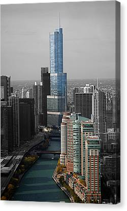 Chicago Trump Tower Blue Selective Coloring Canvas Print