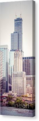 Chicago River Canvas Print - Chicago Vertical Panorama Of Sears Willis Tower by Paul Velgos