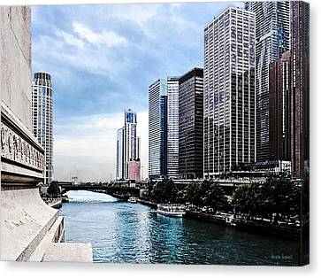 Chicago - View From Michigan Avenue Bridge Canvas Print by Susan Savad