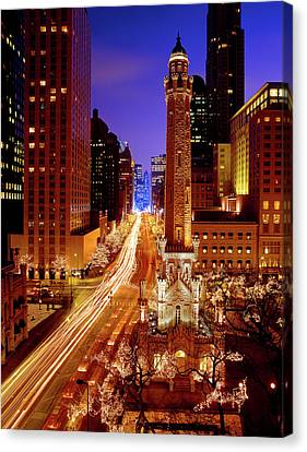 Chicago Water Tower At Night, Michigan Canvas Print